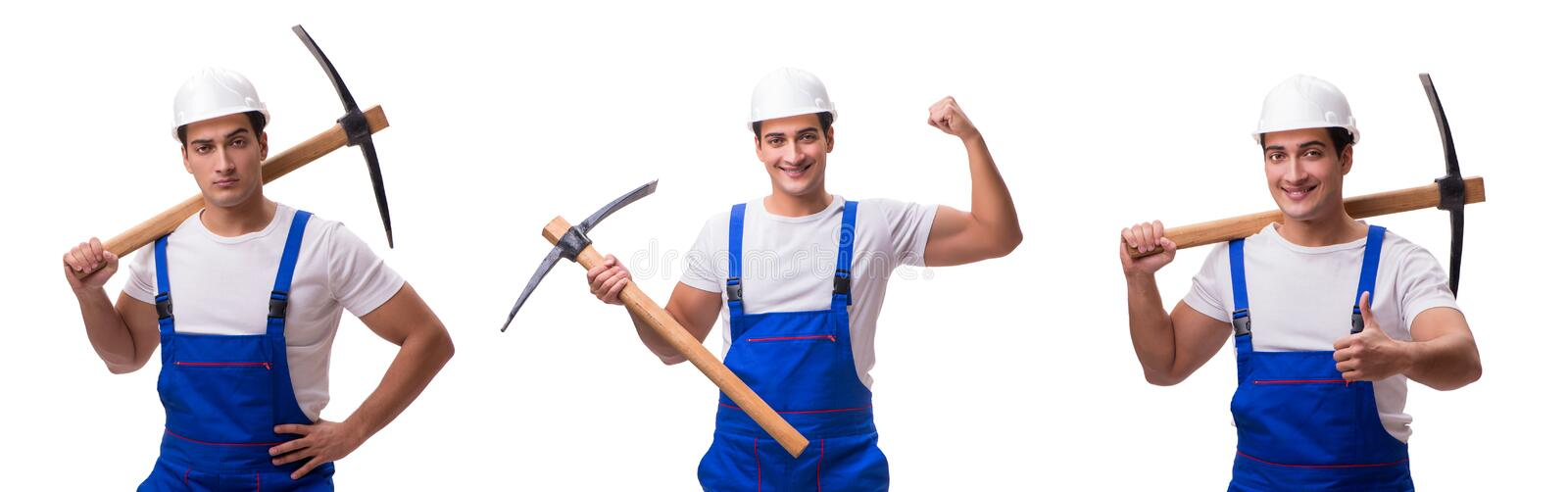 The man with axe on the white. Man with axe on the white stock photography