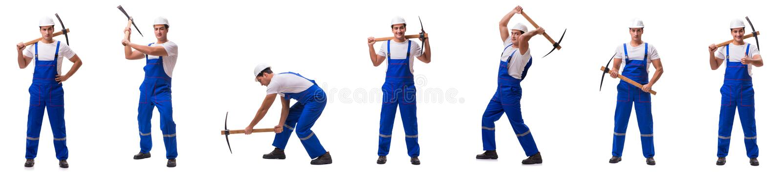 The man with axe on the white. Man with axe on the white royalty free stock photography