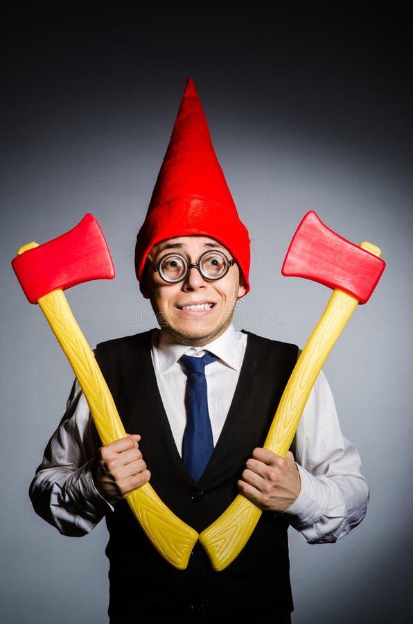 Man with axes. In funny concept stock photos