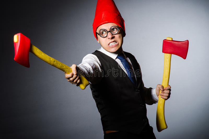 Man with axes. In funny concept royalty free stock photos