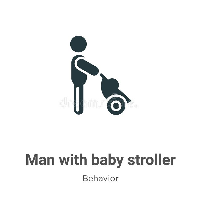 Man with baby stroller vector icon on white background. Flat vector man with baby stroller icon symbol sign from modern behavior vector illustration