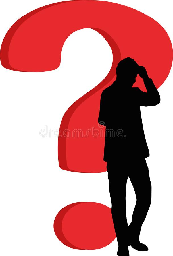 Man in the background of a question mark stock images