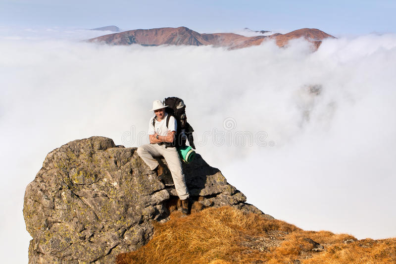 A Man With A Backpack Royalty Free Stock Image