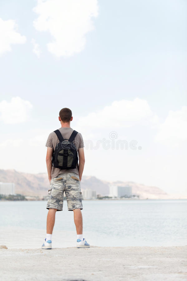 A man with a backpack royalty free stock photo