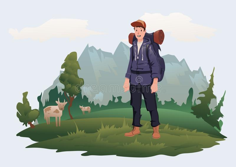 Man with backpack on the background of the mountain landscape. Mountain tourism, hiking, active outdoor recreation. Happy young man with backpack on the vector illustration