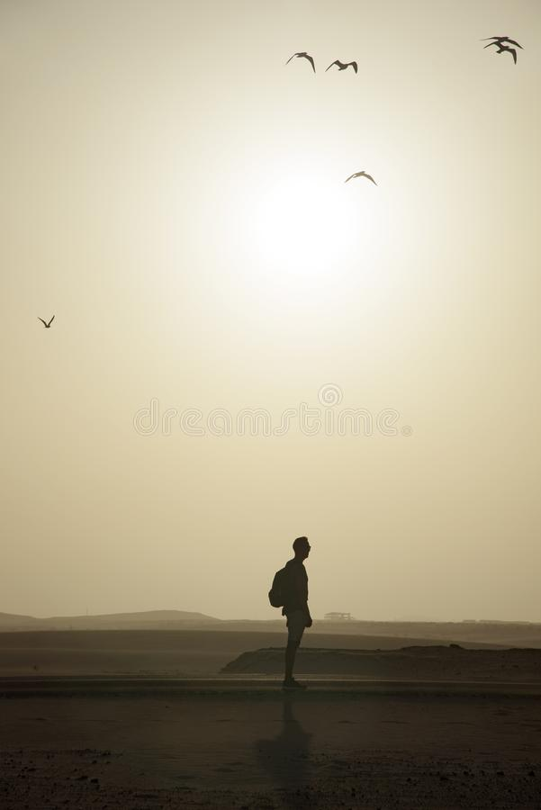 Man with a backpack in the roadside in the desert royalty free stock image
