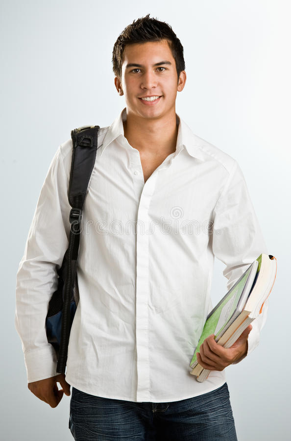 Man with backpack and schoolbooks stock photos