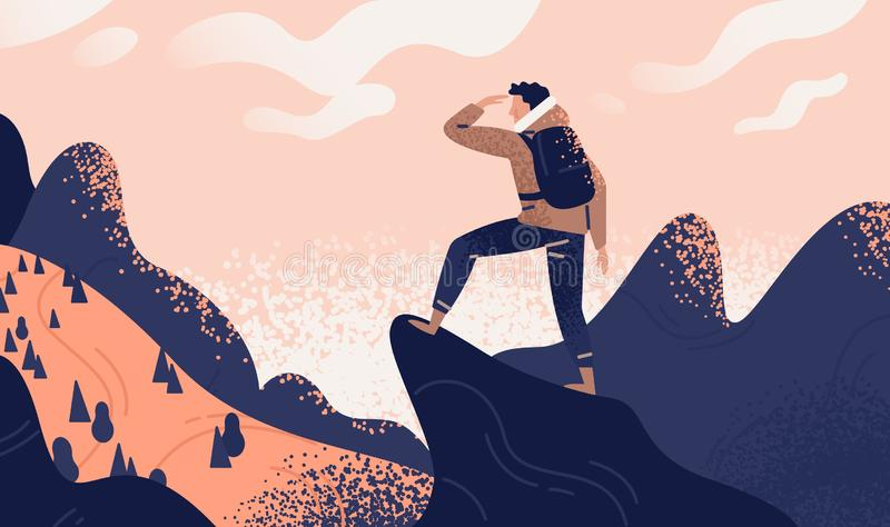 Man with backpack, traveller or explorer standing on top of mountain or cliff and looking on valley. Concept of royalty free illustration