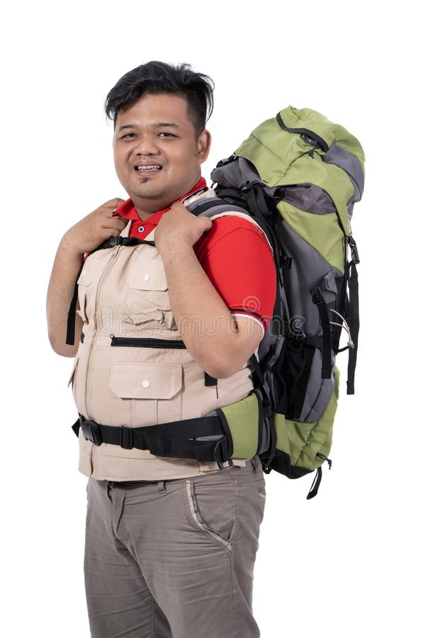 Man backpacker standing look at the camera royalty free stock photos