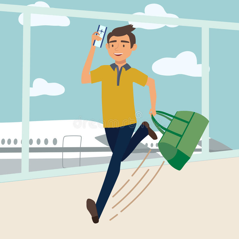 Man with bag late for the plane. Vector illustration royalty free illustration