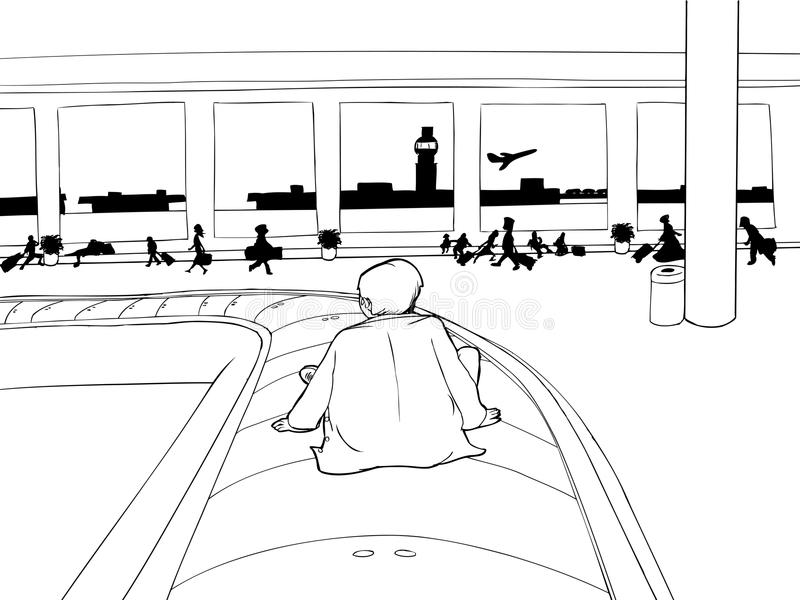 Man on Baggage Carousel Outline vector illustration
