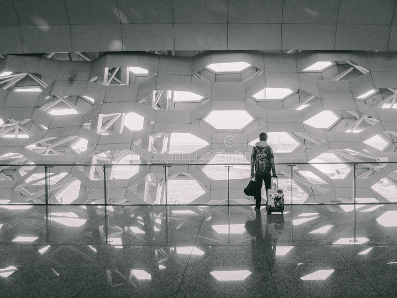 Man with bags at the airport royalty free stock photo