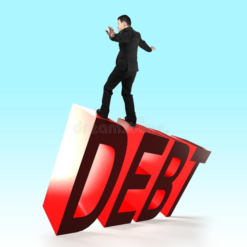 Man balancing on 3D red DEBT word falling. Man standing and balancing on 3D red DEBT word falling stock images