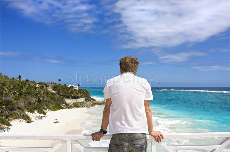 Man on balcony royalty free stock photos
