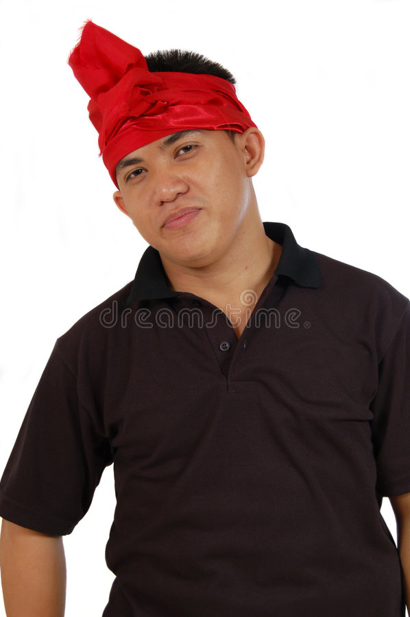 Man with balinese turban royalty free stock photography