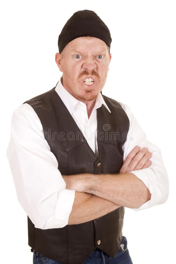 Download Man Bandana Vest Ars Folded Mean Royalty Free Stock Photos - Image: 38369218