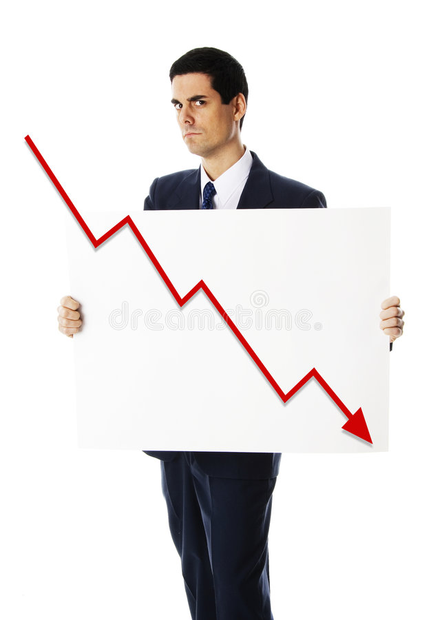 Man with bankrupt sign stock image