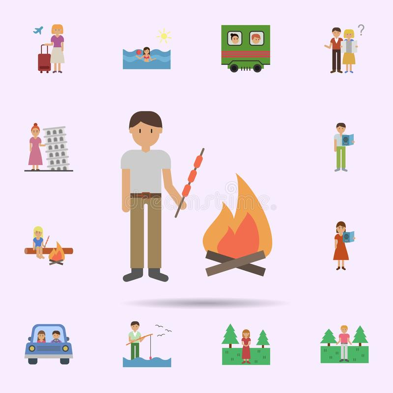 Man, barbecue, fire cartoon icon. Universal set of travel for website design and development, app development. On color background stock illustration