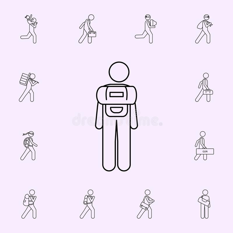 man with barrel illustration icon. Male Bag and luggage icons universal set for web and mobile royalty free illustration