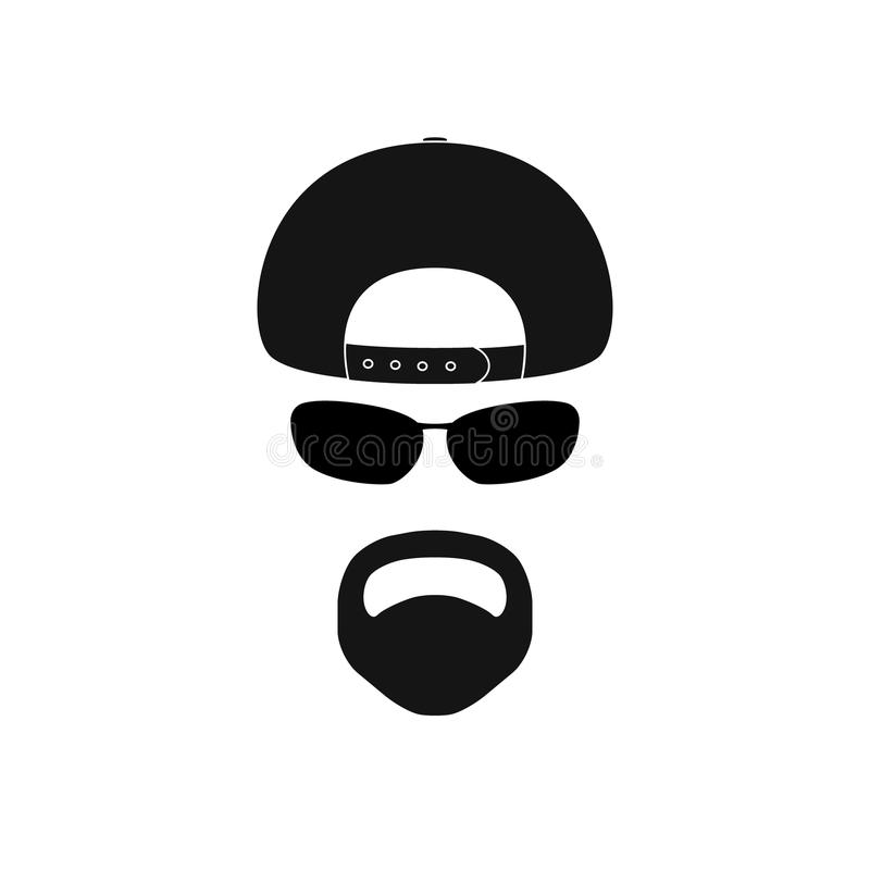 Man with baseball cap, sunglasses and goatee. Avatar icon vector illustration