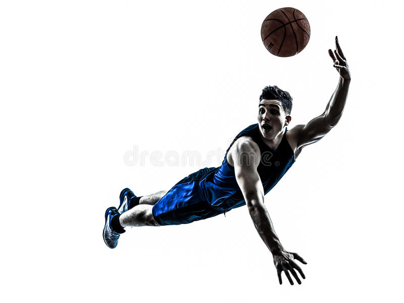 Man basketball player jumping throwing silhouette stock photos