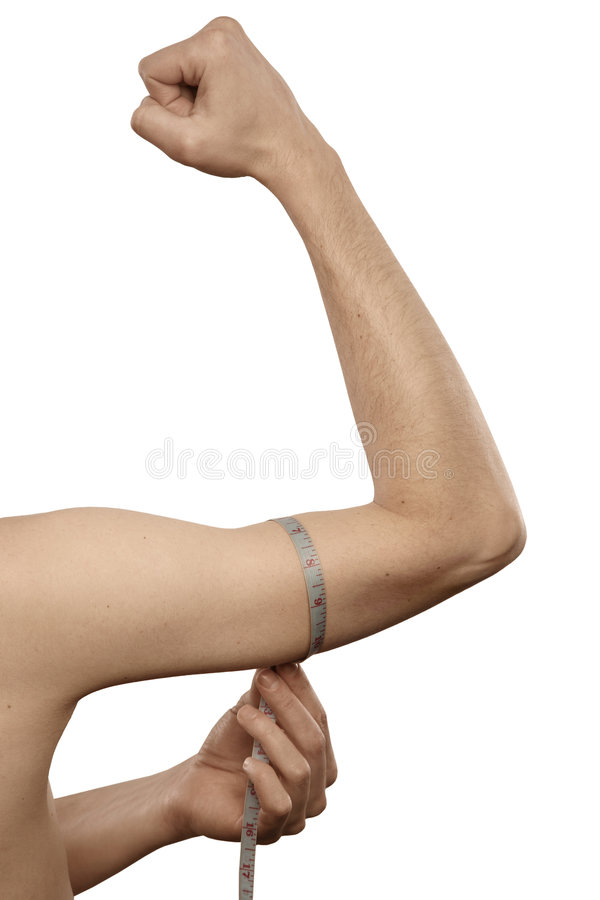 Man be measured his arm. Lean man be measured his arm royalty free stock images