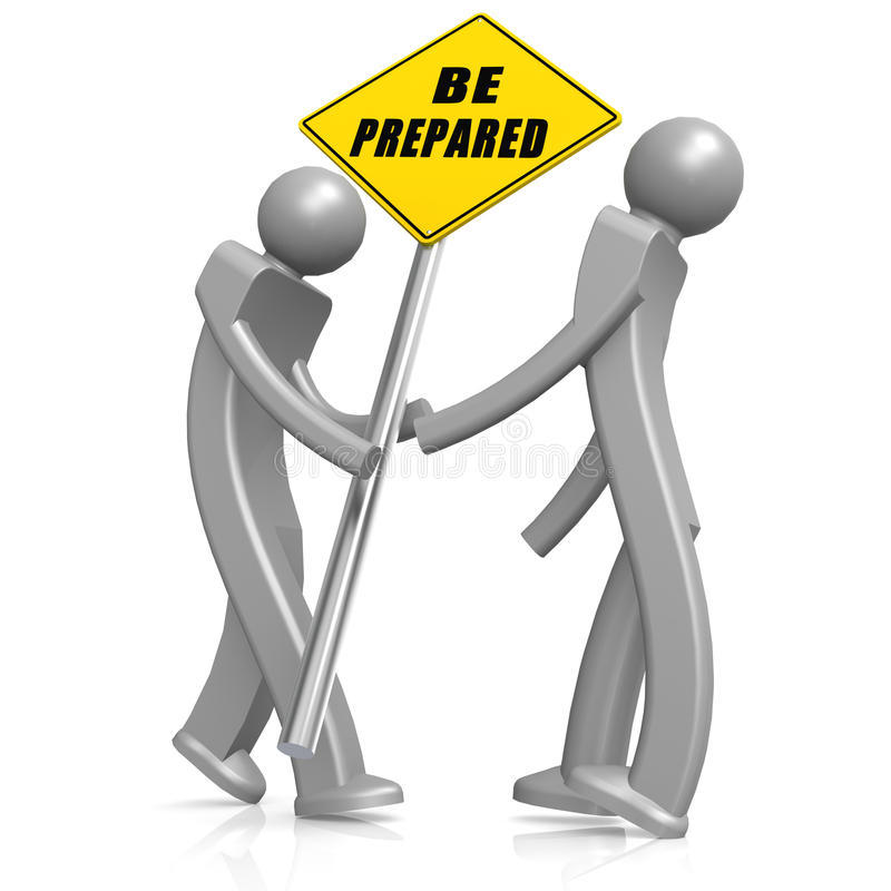 Man with be prepared road sign royalty free illustration