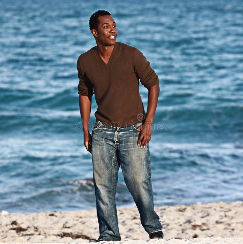 Download Man on the beach stock image. Image of being, shore, african - 7270565