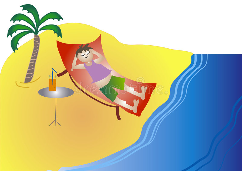 Man on the beach vector illustration