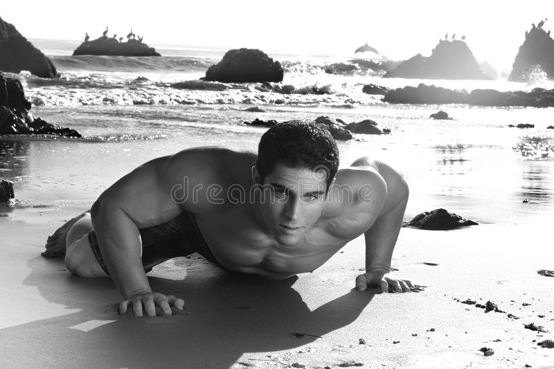 Man on Beach royalty free stock photography
