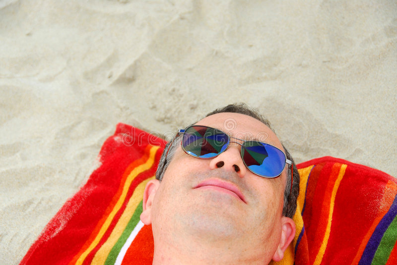 Download Man beach relax sunglasses stock photo. Image of details - 952960