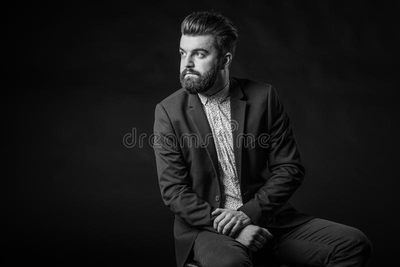 Man with beard, black and white royalty free stock photography