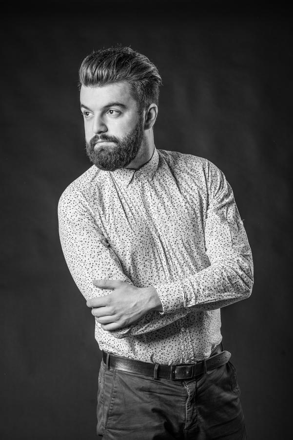 Black And White Portrait Of Bearded Handsome Man In A ...