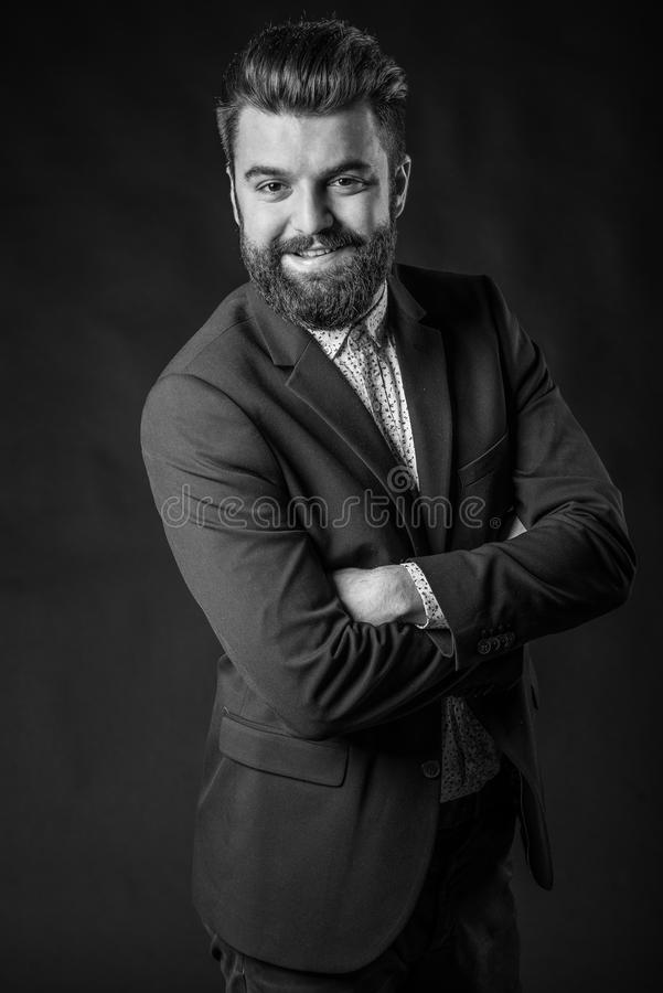 Man with beard, black and white royalty free stock photo