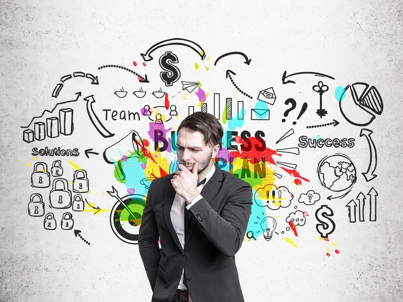 Download Man With A Beard And Bright Business Plan Stock Image - Image: 83722099