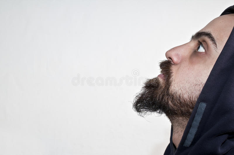 Download Man With Beard And Cap Looks Into The Void Stock Photo - Image: 18057770