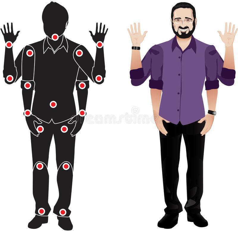 MAN WITH BEARD character in shirt, doll with separate joints. FOR ANIMATION. man character in shirt, doll with separate joints. Gestures for animated work vector illustration