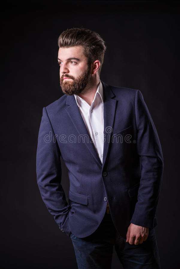 Man with beard, color portrait stock image