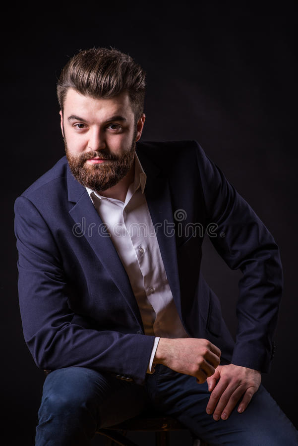 Man with beard, color portrait stock photography