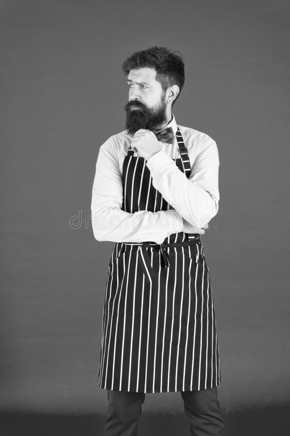 Man with beard cook hipster apron. Hipster chef cook red background. Bearded man chef cooking. Restaurant staff and royalty free stock image