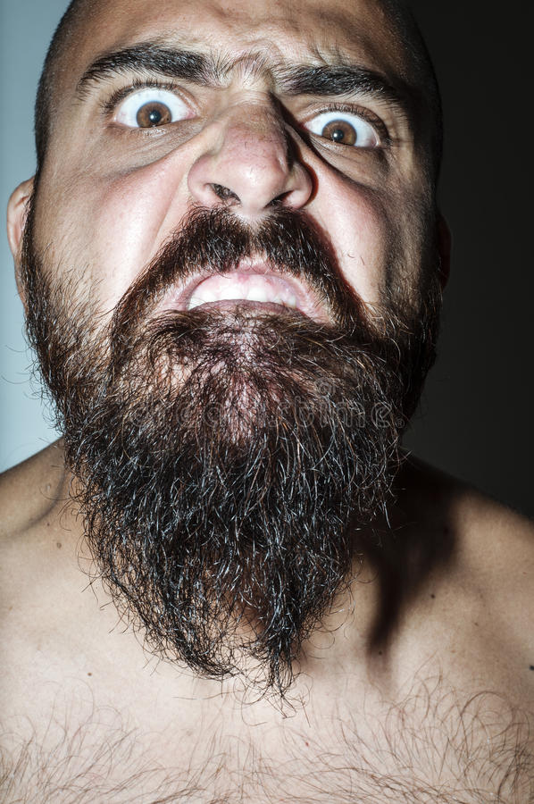 Download Man With Beard With Frightening Expressions Stock Image - Image: 26513957
