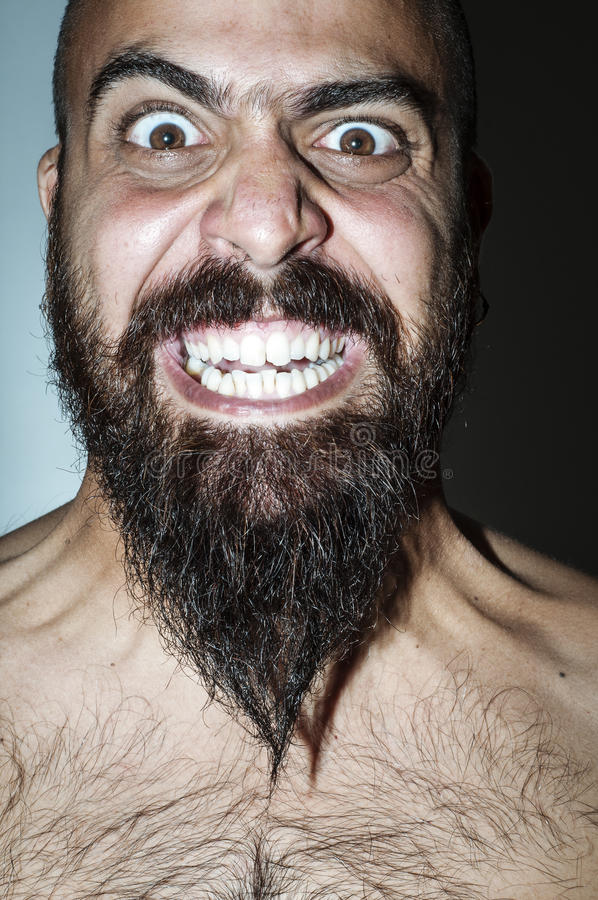 Download Man With Beard With Frightening Expressions Stock Image - Image: 26513967