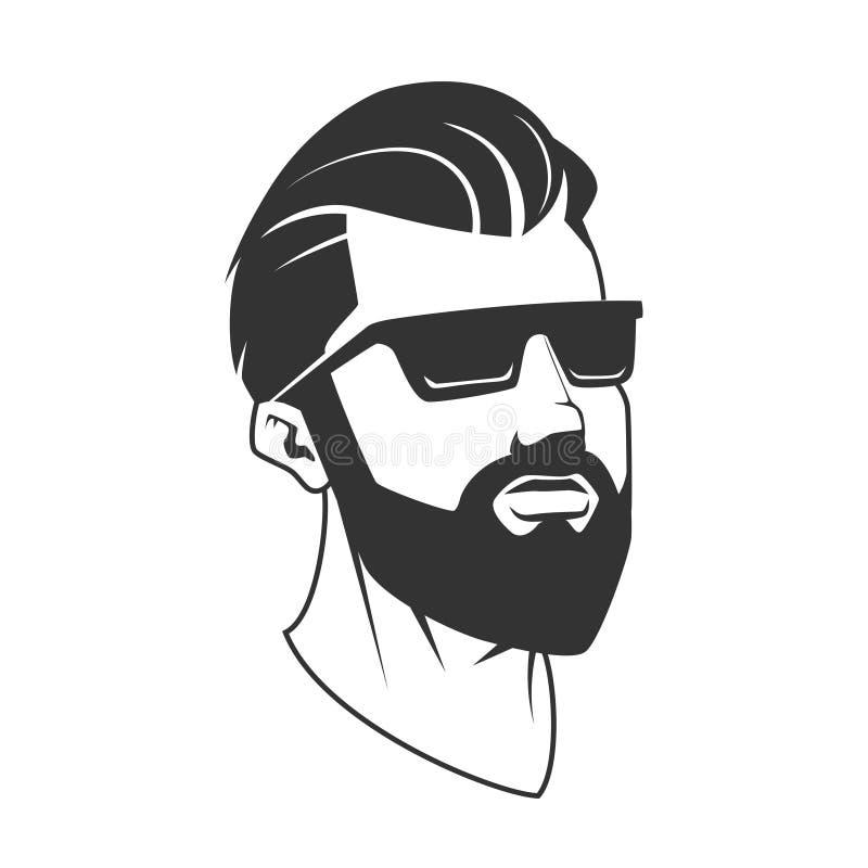 Man with beard hipster barbershop vector emblem. Man with beard hipster barbershop vector illustration. Minimalistic human head drawing. Barbershop logo stock illustration