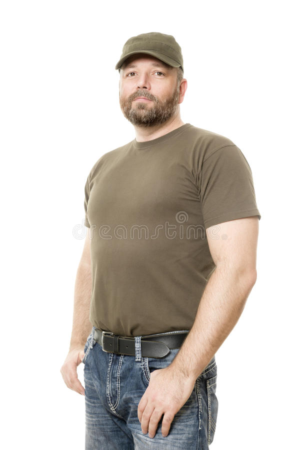 Man with beard. An image of a handsome man with a beard body isolated on white stock image