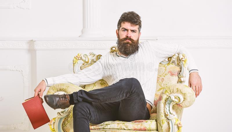 Man with beard and mustache sits on armchair, holds book, white wall background. Connoisseur on thoughtful face finished. Reading book. Guy thinking about royalty free stock images