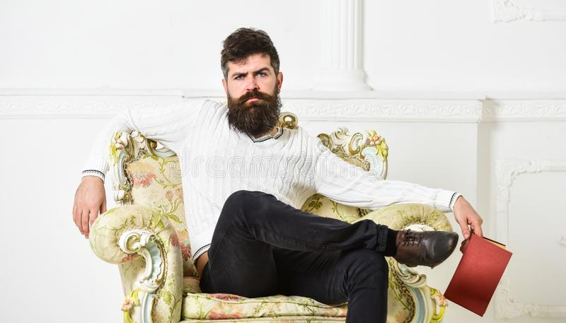 Man with beard and mustache sits on armchair, holds book, white wall background. Connoisseur on thoughtful face finished. Reading book. Guy thinking about royalty free stock photography