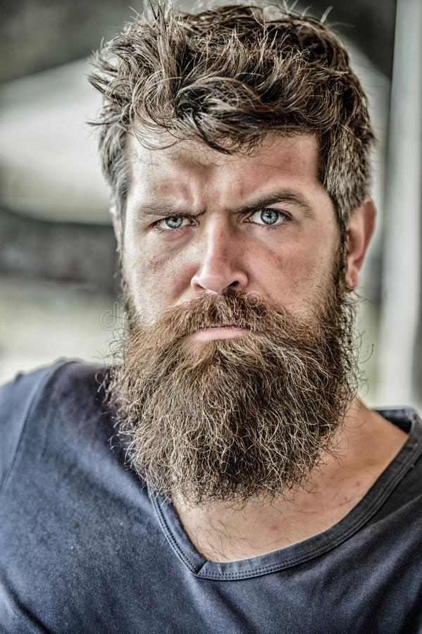 Man with beard and mustache thoughtful troubled. Making important life choices. Making hard decision. Bearded man stock photography