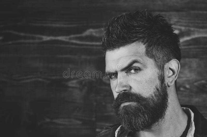 Man with beard and mustache on wooden background. Haircut of bearded man, archaism. Fashion and male beauty of graying. Man. Barber and hairdresser salon royalty free stock photography