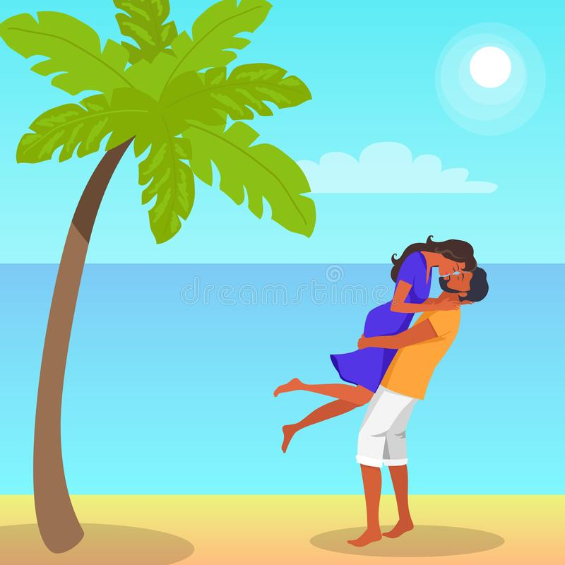 Man Lifts his Girlfriend and Kisses Illustration. Man with beard in shorts lifts his girlfriend in purple dress and kisses on the seaside under palm tree vector stock illustration