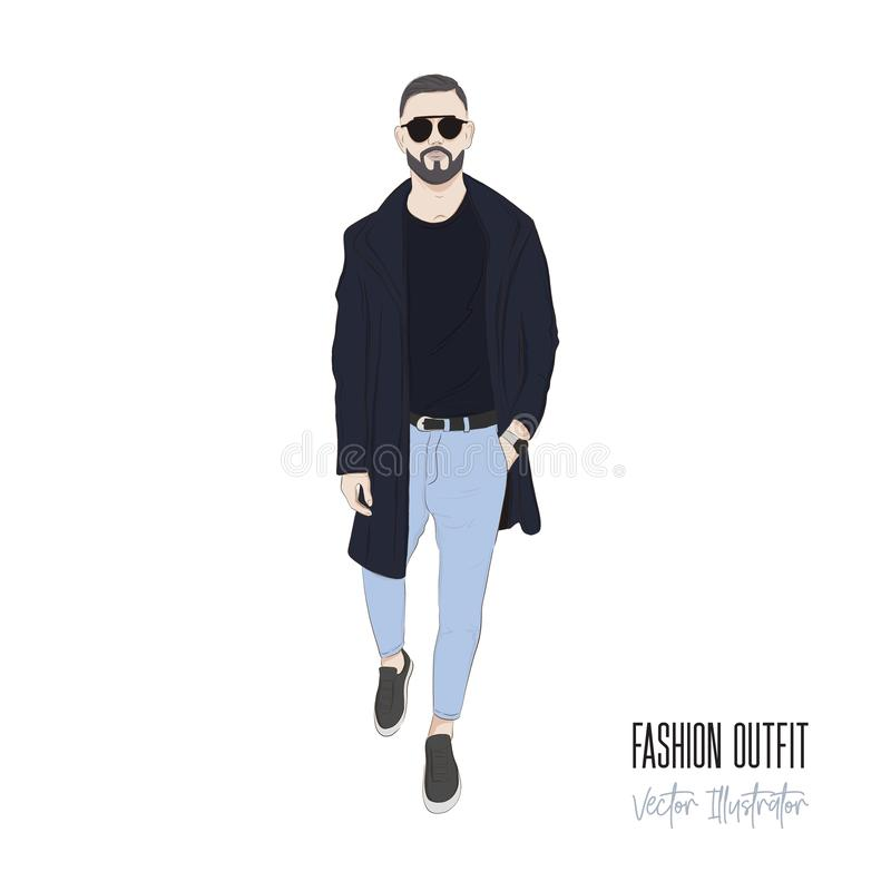 Man with beard street style. Business people character illustration. Fashion outfit sketch. Male in jacket, jeans and royalty free illustration
